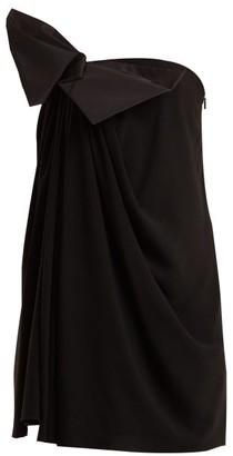 Saint Laurent Bow-embellished Strapless Crepe Dress - Black