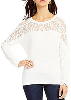 GUESS Caroline Long-Sleeve Mixed-Lace Stretch Jersey Top