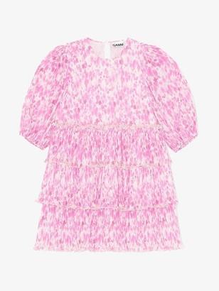 Ganni Pleated Georgette Mini Dress Sweet Lilac - 34