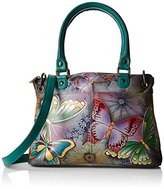 Anuschka Handpainted Leather Small Satchel Butterfly Paradise