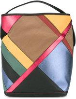 Burberry colour block shoulder bag - women - Cotton/Jute/Leather - One Size