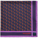Duchamp Men's Geometric-Print Silk Twill Pocket Square