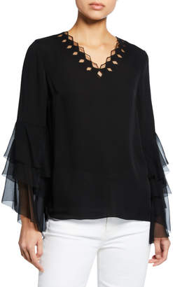 Elie Tahari Tia V-Neck Long Flounce-Sleeve Silk Blouse