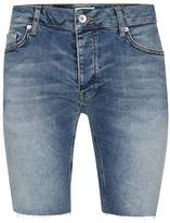 Topman Mid Wash Raw Edge Stretch Skinny Denim Shorts