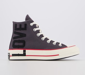 Converse Hi 70s Trainers Thunder Grey University Red