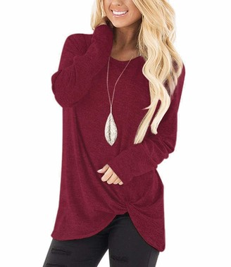 Xpenyo Ladies Casual Tops Long Sleeve O Neck T-Shirt with Twisted Loose Home Clothes Wine Red UK 18