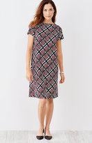 J. Jill Wearever Pleated-Back A-Line Print Dress