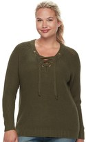 It's Our Time Juniors' Plus Size Lace-Up Sweater