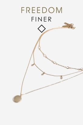 Topshop Freedom At Finer Moon Stone Multirow Necklace