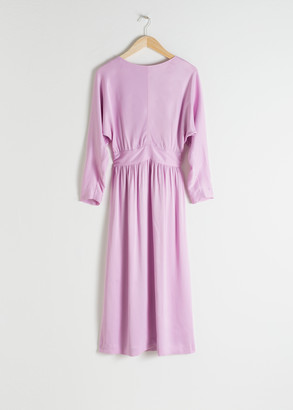 And other stories Long Sleeve Satin Midi Dress