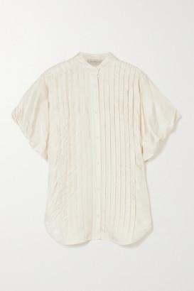 Lee Mathews Emiko Pintucked Satin-twill Shirt - Cream