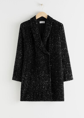 And other stories Sequin Double Breasted Blazer Dress
