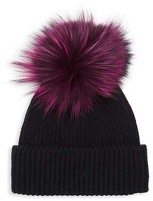 Amicale Fox Fur-Accented Cashmere Beanie