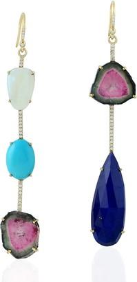 Artisan 18Kt Yellow Gold Dangle Earring Diamond Lapis Opal Ethiopian Melon Tourmaline Stone