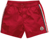 Moncler Striped Snap-Front Swim Trunks, Size 4-6