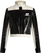 Courreges Contrast-panel patent faux-leather jacket