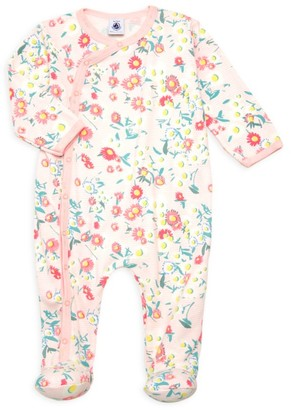 Petit Bateau Baby Girl's Floral Striped Footie
