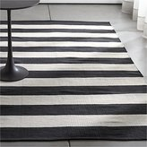 Crate & Barrel Olin Black Striped Cotton Dhurrie Rug