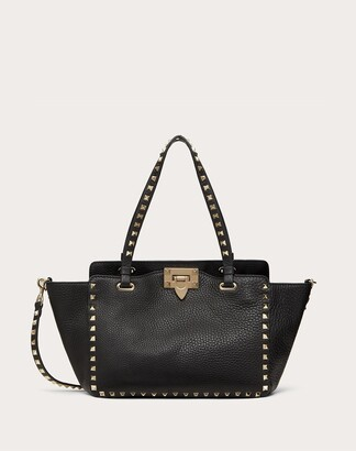 Valentino Small Grain Calfskin Leather Rockstud Bag Women Light Ivory Calfskin 100% OneSize