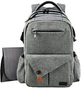 Hap Tim Multi-function Large Baby Diaper Bag Backpack W/Stroller Straps-Insulated Bottle Pockets-Changing Pad,High Quality Nylon Fabric Waterproof for Moms & Dads (5284-Gray)