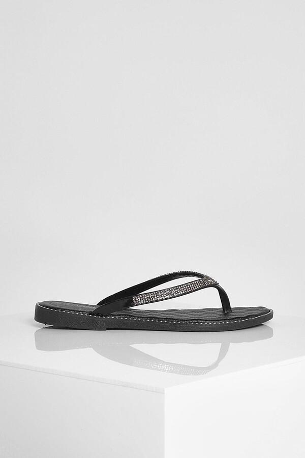 Thumbnail for your product : boohoo Diamante Trim Flip Flops