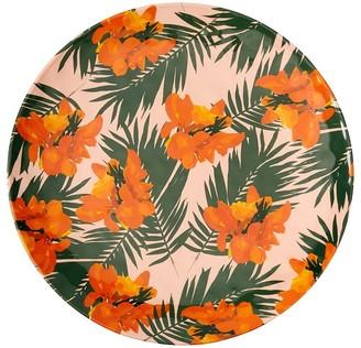 Indigo Tropical Floral Melamine Round Outdoor Tray