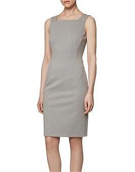 HUGO BOSS Houndstooth Jersey Shift Dress With Full-Length Back Zip