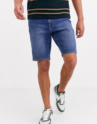 Wrangler 5 pocket denim short in blue