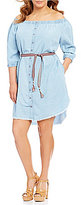 Democracy Plus Off-The-Shoulder 3/4 Sleeve Button Down Dress