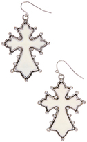 Carole Crystal & Stainless Steel Angular Cross Drop Earrings