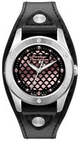 Harley-Davidson Women's Quartz Watch with Black Dial Analogue Display and Black Leather Cuff 76L163