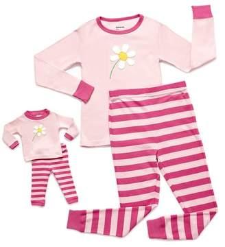 Leveret Flower Pajama & Matching Doll Pajama Set (Toddler, Little Girls, & Big Girls)