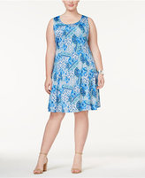 NY Collection Petite Plus Size Fit and Flare Printed Dress, Created for Macy's