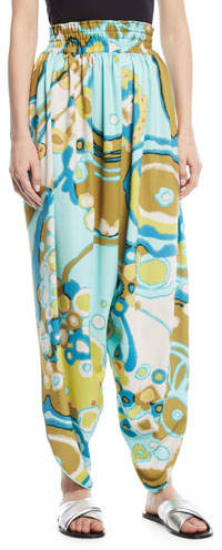 Marc Jacobs Side-Slit Swirl-Print Harem Pants