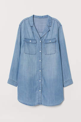 H&M Long Lyocell Denim Shirt - Blue