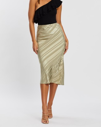 Atmos & Here Rachel Satin Stripe Midi Skirt