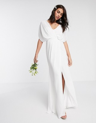 Asos Design DESIGN Bridesmaid short sleeved cowl front maxi dress with button back detail