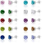 Bliss 18k White Gold Cz 5mm 4 Prong Multi Color Birthstone Earring Set.
