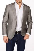 Levinas Gray Woven Two Button Notch Lapel Wool Slim Fit Blazer