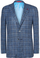 Isaia Blue Slim-Fit Checked Wool, Linen and Silk-Blend Blazer