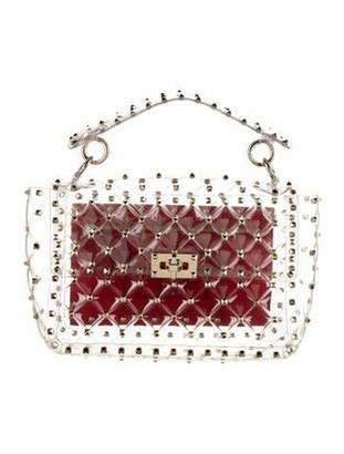 Valentino Medium Plexi Rockstud Spike Bag Clear