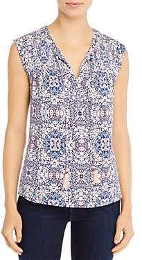 Daniel Rainn Cap-Sleeve Printed Top