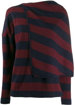Chalayan striped draped cape jumper