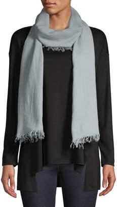 Eileen Fisher Frayed-Trim Wool, Silk Cashmere-Blend Scarf