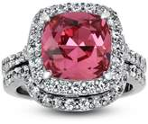 TVS-JEWELS Platinum Plated 925 Sterling Silver Pink CZ Cushion Cut Appealing Wedding Solitaire W/ Accents Ring (10.5)