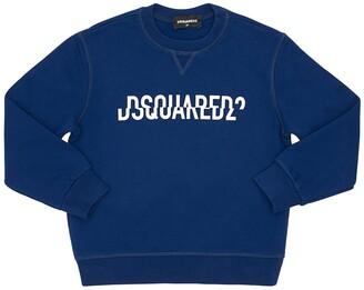DSQUARED2 Split Logo Print Cotton Sweatshirt