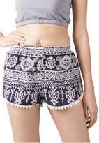 Lofbaz Women's Printed Lace Summer Shorts Dark Blue XL