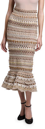 Dolce & Gabbana Raffia Embroidered Midi Skirt