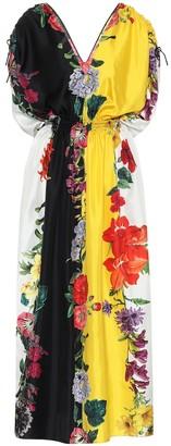 Oscar de la Renta Floral striped silk-twill maxi dress
