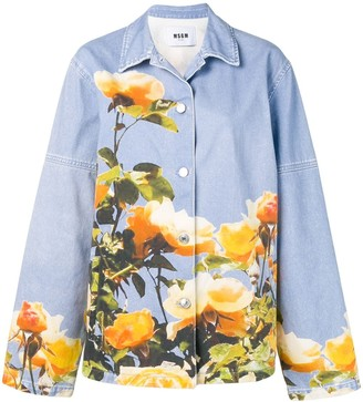 MSGM Oversized Printed Denim Jacket